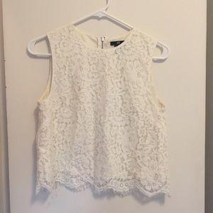 H&M white lace cropped tank